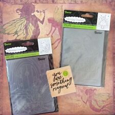 Fairy Lot Magical Wood Rubber Stamp + Fairies Pixie Two Embossing Folders Darice