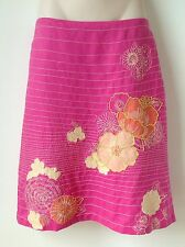 FRENCH CONNECTION 6 PINK CORAL FLORAL EMBROIDED SKIRT HOLIDAY PARTY BOHO CRUISE