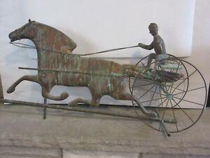 "ANTIQUE COPPER WEATHERVANE ""HORSE, SULKY & JOCKEY"""