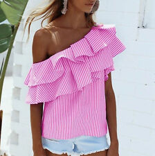 Summer Womens Off-shoulder Long Sleeve Casual Blouse Loose Stripe Tops T-Shirt