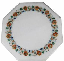 2' white Handicraft Marble Table Top Lapis Floral Semi Precious Stones Inlay