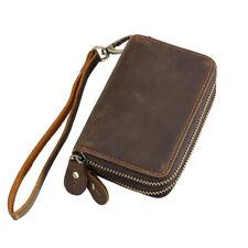 Vintage Men Leather Card Wallet Money Clip Purse Small Clutch Bag Zipper Closure