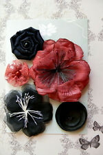RED & BLACK All Fabric Mixed Designs 5 Flowers 35-85mm across Green Tara