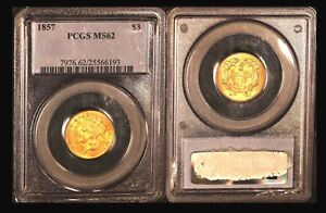 1857 $3 PCGS MS 62 -RARE Low Mintage (Just Over) 20000 Indian Princess