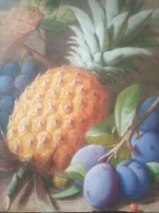 VINTAGE WATERCOLOUR BEAUTIFULLY PAINTED STILL LIFE FRUIT PINEAPPLE