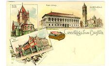 Boston MA -MULTI-VIEW OF CITY-American Souvenir Postcard Pioneer/Armstrong & Co