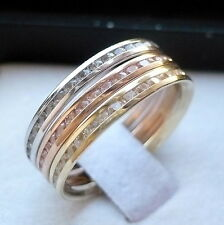 14K TRICOLOR GOLD THREE PIECE LADIES CZ ANNIVERSARY/ eternity BAND RING Size 7