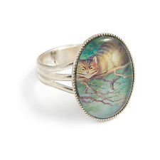 Alice in Wonderland RING - Cheshire cat Were all mad here - mad hatter silver
