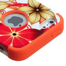 iPhone SE / 5S - Orange Flowers Hybrid Armor Dual Layer Hard & Soft Rubber Case