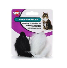 Spot Ethical Miami Mice Twin 2 Pack Cat Toy Black/White Longhair. Free Ship Usa