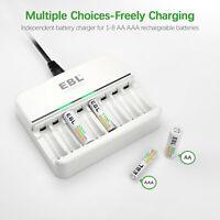 EBL AA AAA Rechargeable Battery Charger - Fast Charging AA AAA Individual 8-Slot
