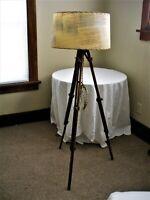 Vintage Industrial Tripod Floor Lamp Light Vintage Fiber Glass LOOK shade