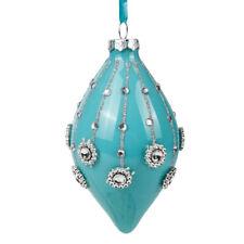 "3.5"" Tiffany Blue Icicle Shaped Christmas Glass Ornament Tree Decor Kurt Adler"