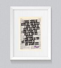 Prince Purple Rain letras de impresión de libro diccionario Vintage Arte