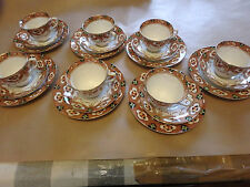 ROYAL ALBERT ENGLISH ART DECO CROWN CHINA GORGEOUS 21 PIECE TEA SET, WIDE CUPS