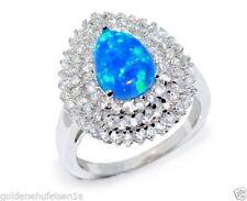 Ringe mit Edelsteinen im Solitär Stil aus Sterlingsilber echten Opal