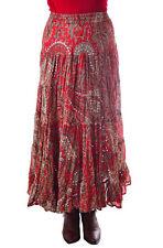 Women Long Skirt Western Wear Striking Boho Chic Red Multi Paisley Print Skirt