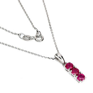 Round Red Ruby 4mm 14K White Gold Plate 925 Sterling Silver Necklace 18 Inches