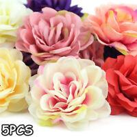 5Pcs Artificial Flower Silk Rose Head Wreath Garland Home Decor Wedding Supply ~