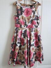 Elegantes Kleid H&M, Blumenmuster, Rosenmuster, Knielang, Gr. 36 gefüttert