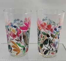 2 ANTHROPOLOGIE JUICE GLASSES JUBILATION FLORAL MULTI DECAL ARTIST KIANA MOSLEY