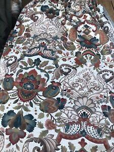 "Vintage Large Retro Floral Design Single Hall Curtain Lined W100"" D80"""