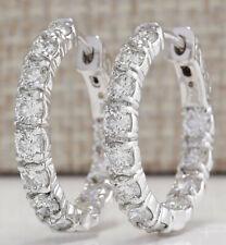 3.11 Carat Natural Diamond 14K White Gold Luxury Hoop Earrings