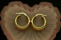 14K YELLOW GOLD POLISHED FINISH HOLLOW ROUND HOOP EARRINGS 21mm #X14-2806