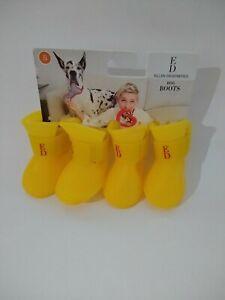 NEW! Ellen DeGeneres  Waterproof Rubber Dog Boots Yellow Size S ( 795)
