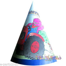 BARNEY VINTAGE Great Adventure CONE HATS (8) ~ Birthday Party Supplies PBS Kids
