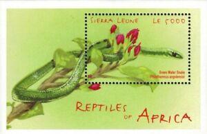 MODERN GEMS - Sierra Leone - Reptiles of Africa Snake - Souvenir Sheet - MNH