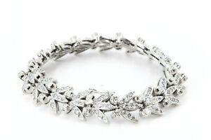 4,935 ct. Diamant Armband Gold 750 Tennis 18 K Weißgold 197 Diamanten ca H 17 cm