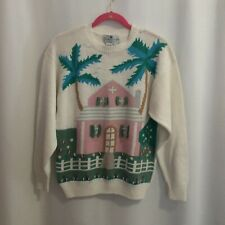 Vintage Trimingham's Bermuda Embroidered Sweater Size L Pink House Palm Trees