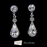 Swarovski Crystal Elements Tear Drop Earrings Wedding Bridal Clear Silver AAA