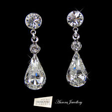 Swarovski Crystal Elements Tear Drop Earrings Wedding Bridal Clear Silver AAA