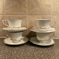 Set of 4 SEYEI Fine China Grosvenor Tea Cups harmony House Saucers