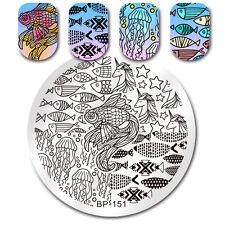 Nagel Stempel Schablone Runden Nail Art Fisch Meer Muster Stamping Schablonen