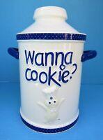 NIB 2006 Pillsbury Doughboy Wanna Cookie Milk Can Ceramic Cookie Jar Simson FS!