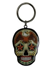 "Sunny Buick Tattoo Artist - Hot Eagle Sugar Skull Metal KEYCHAIN 1.75""  x 2.25"""