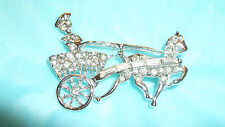 VINTAGE RHINESTONE PIN BROOCH SHAPE OF HORSE AND CHARIOT NEW OLD STOCK MUST SEE!