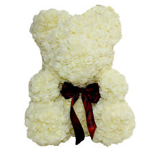 White Rose Bear for Birthday, Graduation, Wedding, Flower, Bear Gift
