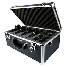 Premium Black Aluminum Vertical Multi-Pistol Gun Carrying Case Customizable Foam