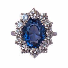Attractive Daisy 7.42 Carat Ceylon Sapphire Diamond Halo Style Silver Ring