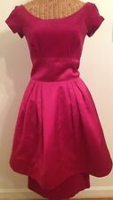 Vintage 50's Kay Selig New York Raspberry Velvet & Satin Dress 2 Tiered Skirt S