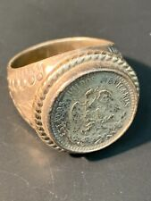 Mens' Ring Us Size 11.5 Silver 1 Mexican Peso Vintage (1920-1945)