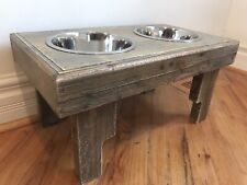 Reclaimed Elevated Pet Bowl Feeding Station Raised Dog Dish 2 Bowls Included New