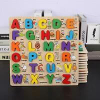 Alphabet/ Number Puzzle Kid Learning Wooden ABC Letters Pre School Educational Q