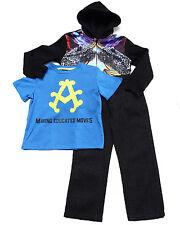 Akademiks Boys 3 Pc Set Panther Sublimation Hoodie, Tee, & Jean Set Size 12 Mon.