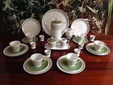 KRAUTHEIM Germany -  edles 31- teiliges Kaffeeservice für 6 Personen weiß/grün