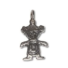Sterling Silver .925 Oxidized Happy Baby Girl Charm Pendant | Made in USA